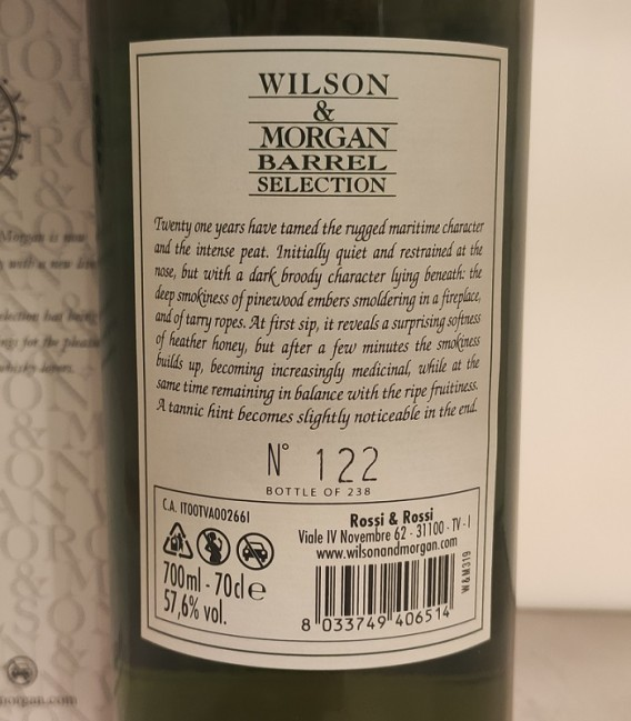 Caol Ila 21 Years Old Sherry Finish Oloroso Distilled 1998 and Bottled 2020 – Wilson & Morgan – Astucciato