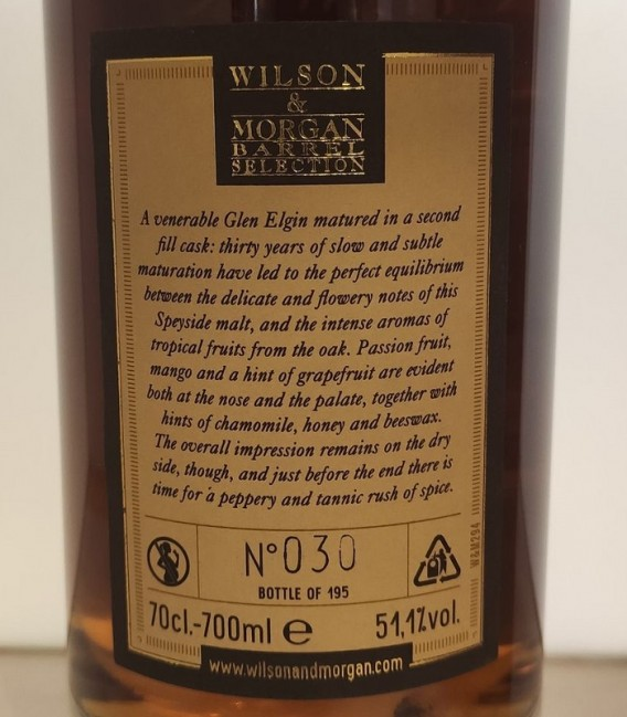 Glen Elgin 30 Years Old Distilled 1988 and Bottled 2019 – Wilson & Morgan – Astucciato