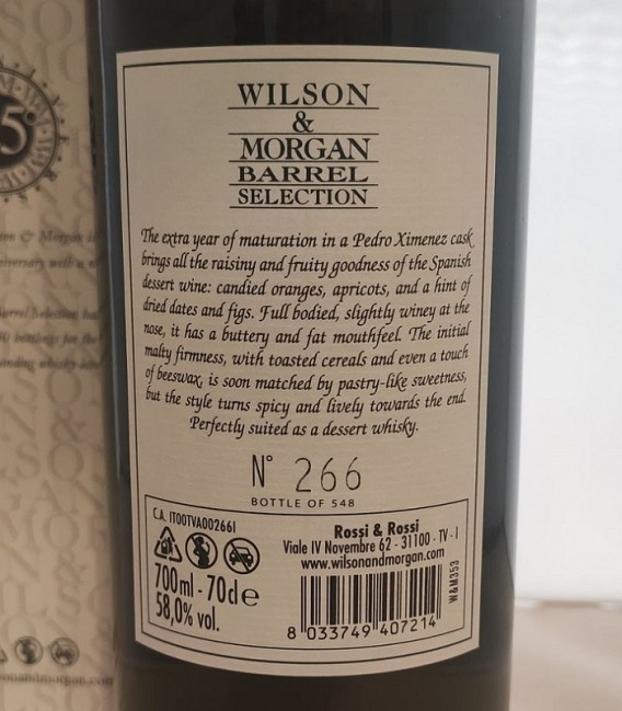 Linkwood 12 Years Old Sherry Finish PX Distilled 2008 and Bottled 2020 – Wilson & Morgan – Astucciato