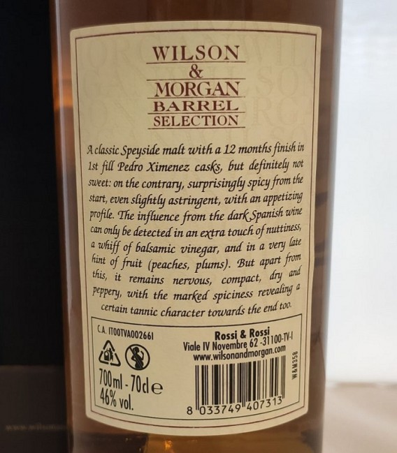 Benriach Sherry Finish PX Distilled 2013 and Bottled 2021 – Wilson & Morgan – Astucciato