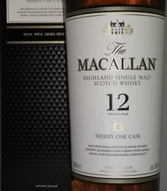 The Macallan Sherry Oak 12 Years Old Highland Single Malt Scotch Whisky - Astucciato